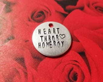 Heart Throb Homeboy Valentine's Day Hand Stamped Hand Made Custom Made Personalized Dog Cat Pet Collar ID Tag along