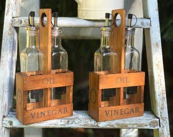 Oil and Vinegar Holder, Reclaimed Wooden Holder for Bottles