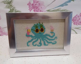 Octopus cross stitch picture.