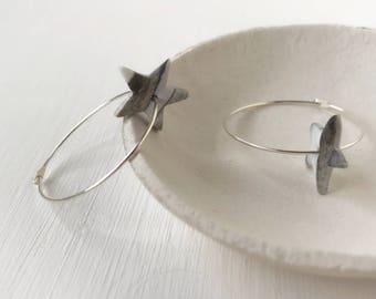 Star hoops, ear wires, modern jewelry, clay earrings, gift under 10, grey earrings