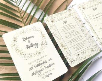 Green Rustic Botanical Floral Wedding Invitation
