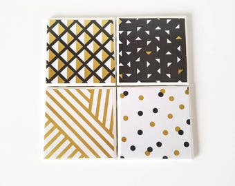 Black and gold tile coasters, New Year's table decor, ceramic coasters, tile coaster, gold coasters, Christmas party, new year party