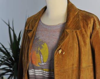 Suede Jacket / Vintage Jacket / Women clothing / Unisex clothing / Women Jacket / Men Jacket / Size L (fr) / Vintage Suede / Beige Jacket