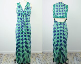 VTG 70s Jack Hartley Womens Maxi Dress Sz S Green Blue Geometric Mod H16