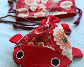 Red Fish Purse with Japanese Fabric (Free US Shipping)
