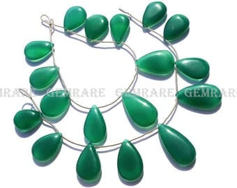 Semiprecious Gemstone Green Onyx Smooth Pear Beads, Quality AAA, 14x19 to 16x28 mm, 18 cm, 9 pieces, GR-030/1, Craft Supplies For Jewelry