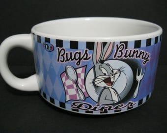 Vintage Bugs Bunny Diner Soup Coffee Mug, Warner Brothers Collectible Mug, Looney Tunes Mug