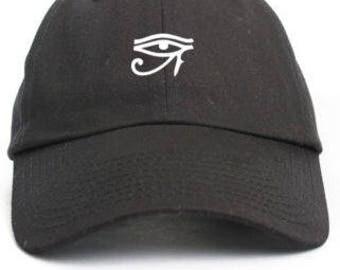 EYE of HORUS RA Custom Unstructured Black Baseball Dad Cap Hat New