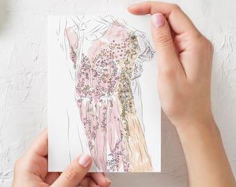 Dress illustration Fashion illustration Dressing room decor Fashion illustration print Fashion art print Dress drawing Dress on hanger