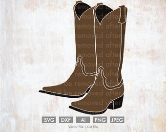Cowboy Boots Svg  - Cut File/Vector, Silhouette, Cricut, SVG, PNG, JPEG, Clip Art, Download, Cowgirl Boots, Country Music, Horseback Riding
