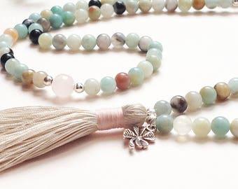 Yoga necklace, Tassel necklace, Amazonite mala, Mala beads 108, Yoga gift jewelry, Birthday gift for her, Rose quartz mala, Mala necklace