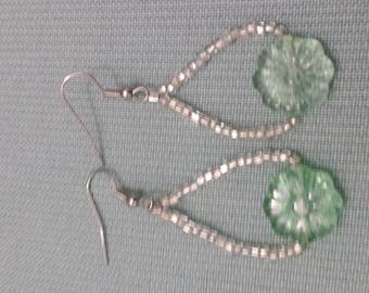 Silver and light green earrings