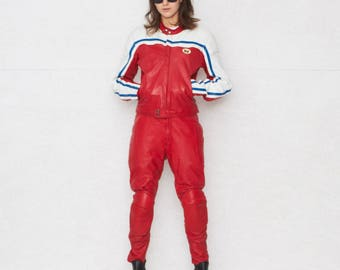 Red Leather Motocyle Suit/ Two Pieces/ Size 52