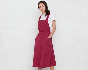 Vintage Purple Pinafore Skirt/ Size 40 or Medium