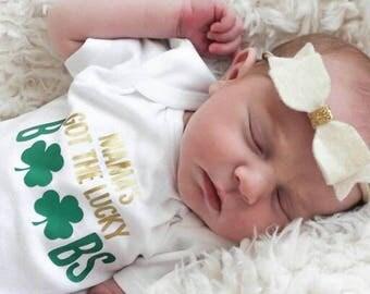 St Pattys Day Shirt, First St. Pattys Day, St Patricks Day Onesie, First St. Patrick's Day, Clover Onesie, Clover Shirt, Breastfeeding Mama
