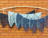 Macrame bunting banner, nursery decor, home, bohemian, party decor, grey, cream decor, yellow, purple, pink, green, blue, baby blue, navy