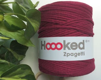 Nice Purple* Burgundy Fuscia t-shirt yarn by Hoooked, 120 meters, recycled cotton, jersey knit, knitting supplies, crocheting, macrame suppl