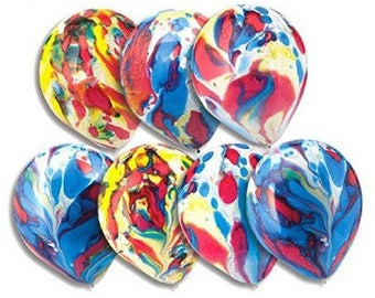 Marble Balloons - stunning mixed colour effect on a balloon, 30cm, Pkt of 5