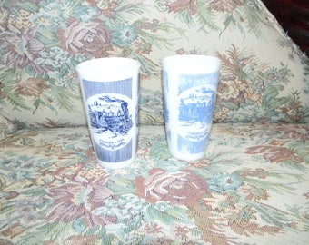 Vintage set of two Hazel Atlas Currier & Ives Steam Traveler drinking glasses