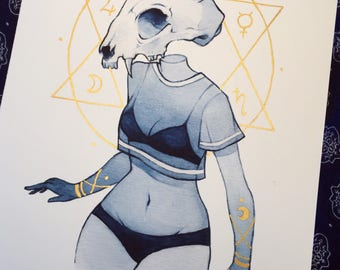 Death deity print (gold embellished version)