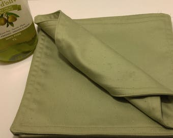Six (6) Large Green Reversible Cloth Napkins - Eco-Friendly; hostess; gift for her; bridesmaids gift; teacher gift; housewarming; birthday