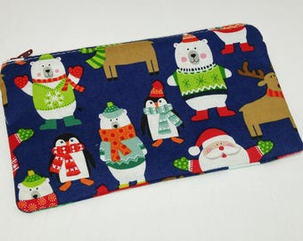 North Pole Christmas Themed Novelty Zipper Pouch makeup bag; pencil case; gift for her; cosmetic bag; carry all; gadget case; birthday