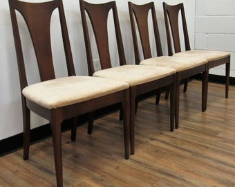 Broyhill Brasilia Mid Century Modern Walnut Dining Chairs - Set of 4