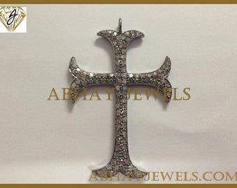 Silver Pave Diamond Big Cross Pendent