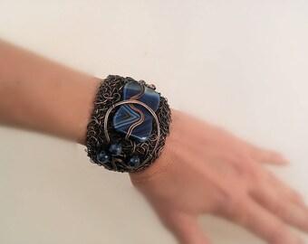 Wire wrapped jewelry Wire wrap bracelet Statement jewelry Statement Wire bracelet Statement Cuff bracelet Copper Cuff bracelet