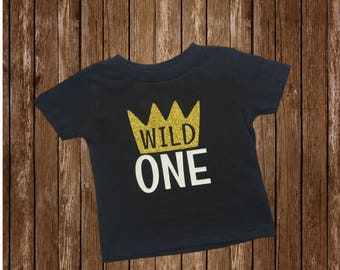 Wild 1 One 1st First Birthday T-Shirt Tee Shirt Onesie Black Wild 1 Onesie Where The Wild Things Are Cake Smash Photo Prop Boy Gold Crown