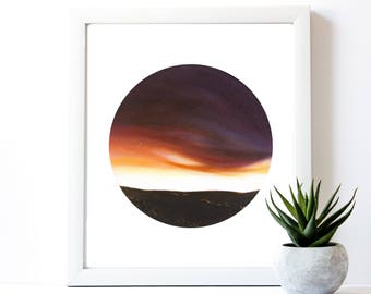 Sunset Painting Print   Circle Print   Landscape Painting   Geometric