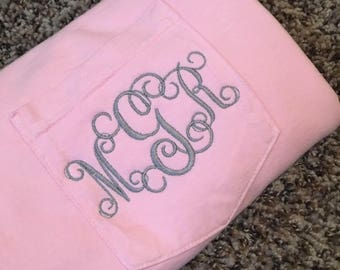 MEDIUM Comfort Colorts Monogrammed Pocket Tee