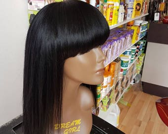 Full fringe/full bangs human hair handmade wig. Colour 1(jet black) length 16 inch.