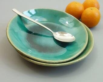 turquoise blue ceramic pasta bowl set, stoneware pasta bowls for 2, salad bowls, soup bowls