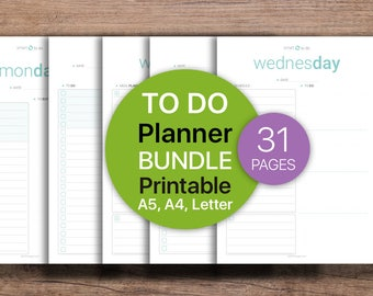 To Do Planner BUNDLE, Weekly Planner, To-Do List Printable, Daily Planner, Meal Planner, To Do List | Printable, A4, A5, Letter.
