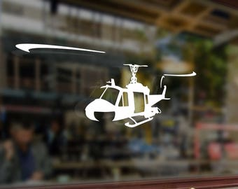 Helicopter Huey UH 1 Vinyl Stickers Funny Decals Bumper Car Auto Computer Laptop Wall Window Glass Skateboard Snowboard Helmet