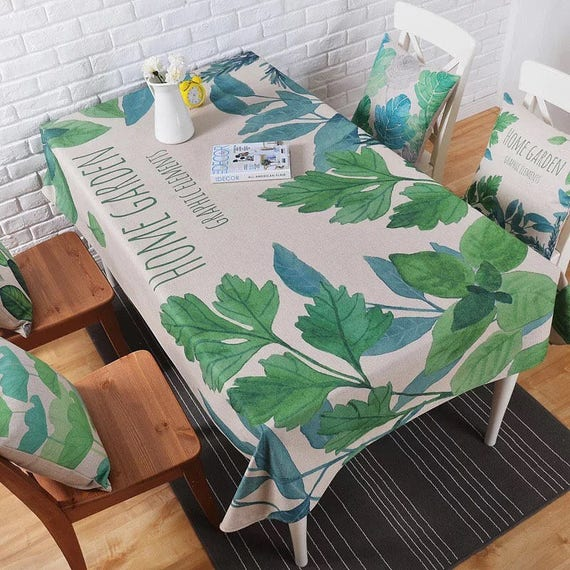 Green tropical tablecloth hemp cotton table linens for Table 80x120