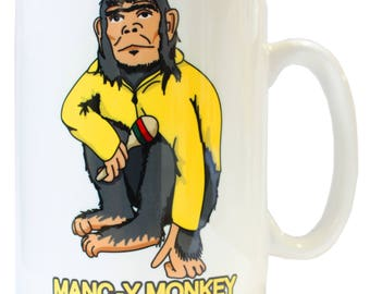 Manc-y Monkey Ian Brown Inspired Ceramic Mug - Produced in UK Stone Roses Northern Quarter 90s Britpop Madchester Mancunian Manchester Manc