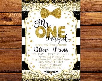 Mr. Onederful Invitation,  Onederful Birthday Party,  Little Man Invitation,  First Birthday Invitation 145