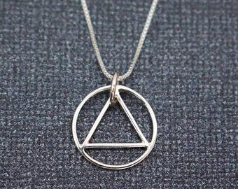 Alcoholics Anonymous AA Sterling Silver Pendant Necklace, Unity Recovery Service, Sterling Silver Sobriety Circle Triangle Symbol Gift