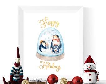 Happy Holidays Sign | Penguin Snowglobe Happy Holidays Printable | Happy Holidays Printables  | Holiday Decorations | Digital Download