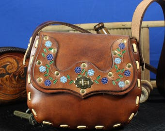 Luxury leather Shoulder Bag With Flower Design