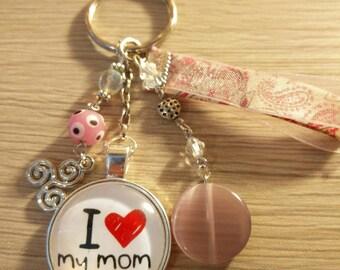 I Love My Mom jewelry light pink bag