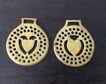2 Vintage Heart Horse Brass / Pair /  Farm / Country / Rustic / Bridle / Boho-Chic