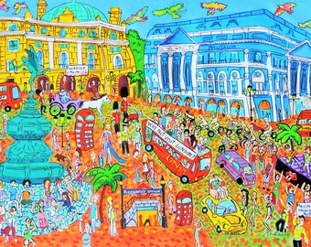 City art. London, Piccadilly Circus. The Stones, the queen and Mr Bean. Giclée print on archival paper. Original artwork. Acrylic painting.