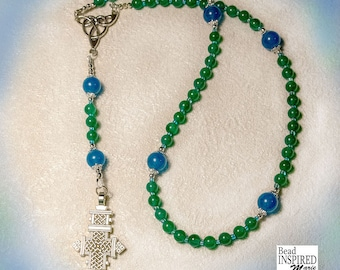 Unique Genuine Sapphire and Aventurine One of a Kind Rosary