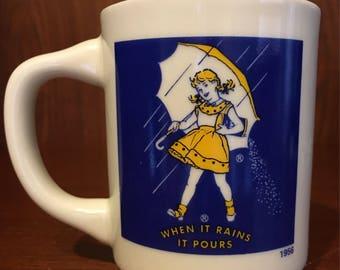 """Vintage 1956 Morton's Salt """"When It Rains It Pours"""" coffee/tea mug"""