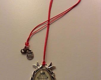 Fancy Red bird necklace