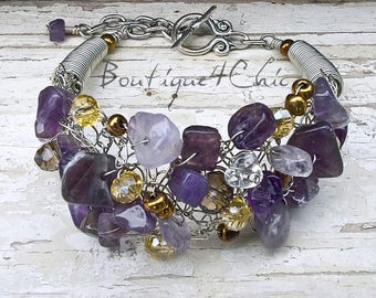 Amethyst cuff bracelet, gift for her