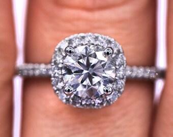 Elegant Micro Pave  Halo Diamond ring with 1.36 TCW